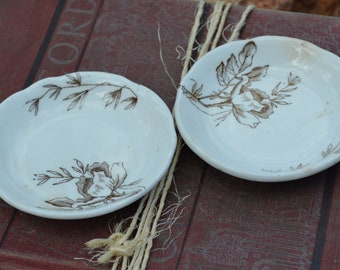 2 Antique Ironstone Butter Pat Plates Brown transferware