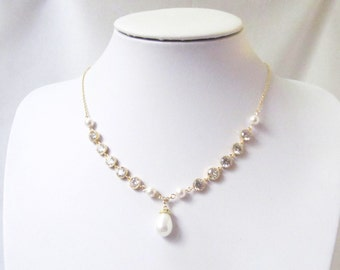 bridal pearl and crystal necklace bridal pearl necklace, wedding necklace,bridal jewellery wedding jewelry bridal necklace, pearl jewelry