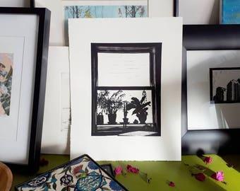 House plants lino print