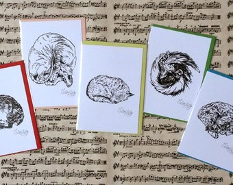 Greeting Card set nr. 3 'Sleeping Animals'