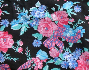 Fleurs Pink Roses with Ribbons with Blue flowers on Black cotton fabric BTY