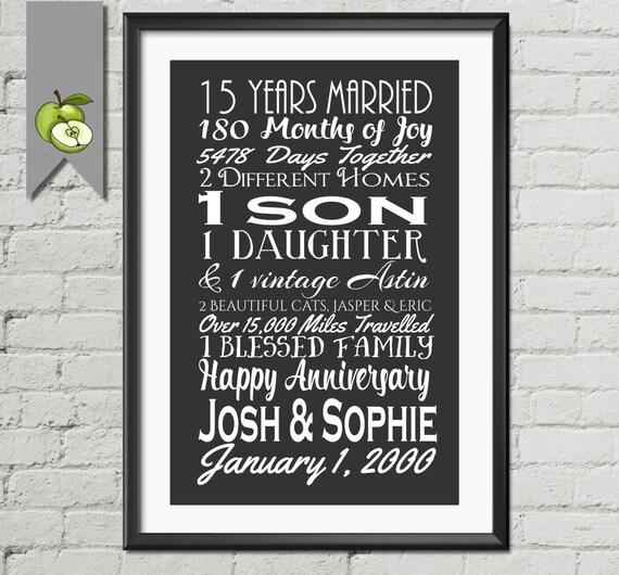 15th Wedding Anniversary Subway Print Printable 15th
