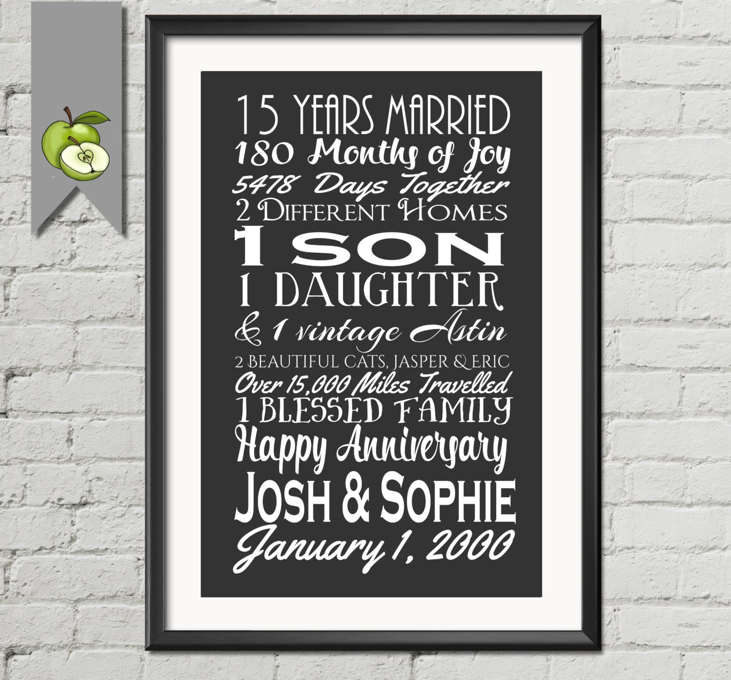 Fifteenth Wedding Anniversary Gifts: 15th Wedding Anniversary Subway Print Printable 15th