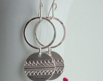 Sterling Silver Dangle Earrings - Metal Lace Earrings - Medium Hammered Hoops