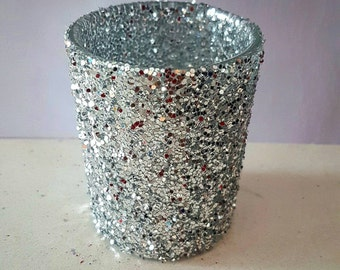 Wedding Decor, Silver Votive, Holiday Decor, Candle Holder, Christmas Party, Glitter Votives, Party Favors, Silver Decor, Table Decoration