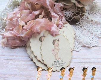 Baby Shower Game Prize Tags - Large Oval Tags - Gift Hang Favor Wish Tags - Set of NINE - Choose Ribbons - sprinkle gender reveal