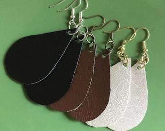 BOGO 2 Pair FAUX Leather Teardrop Earrings, Vegan Teardrop Earrings, Teardrop Earrings, Buy One, Get One FREE!