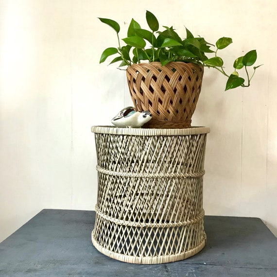 wicker end table - round rattan side table - nightstand - plant stand - large bamboo planter - boho tiki style