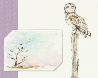 Instant Download Night Owl & Spooky Tree, Halloween Card, Envelope+Letter All-in-One, Watercolor Stationery