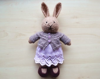 Hand Knit Stuffed Bunny Girl Cute Knitted Little Bunny Girl Soft Toy Doll Independence Day Gift For Girls Rabbit