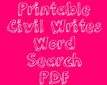 Civil Writes Word Search | Printable Digital Download | Feminism, LGBT, Black Lives Matter, Civil Rights Wordsearch Puzzle Game