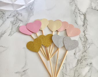 Assorted Heart CupCake Toppers