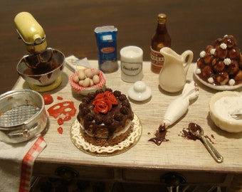 "Miniature, for dollhouse,  table.  set up ""prepare the chocolate party"" 1:12 scale"