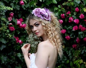 Lilac and purple butterfly wedding hairpiece