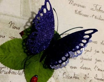 Beautiful Purple Glitter Butterfly Hair Clips, Hair Fascinators, Prom, Wedding, Bridesmaids, Wedding Decorations