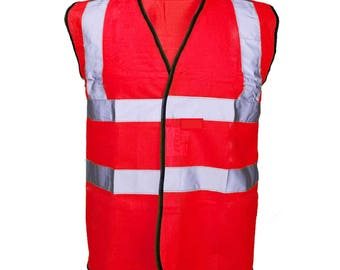 Red Hi Visibility Reflective Safety Vest Hi Viz Ideal for Printing or Embroidery Great for Riding Walking or Running