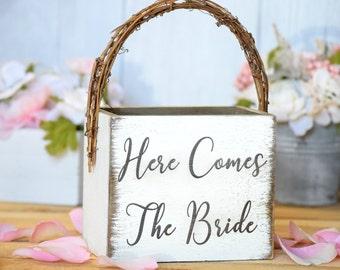Here Comes The Bride Rustic Flower Girl Basket - Personalized Flower Girl Basket - Wedding Flowers - Wedding Flower Girl  Flower Girl Bucket