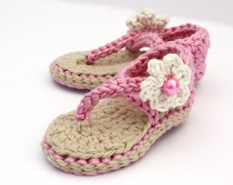 Baby Flip Flops - Infant Sandals - Crochet Baby Shoes - Summer Baby Shoes - Baby Flower Girl Shoes - Baby Girl Sandals - MADE to ORDER
