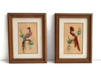 Pair of Vintage Peacock Textile Art, Made With Feathers, Textile Art, Peacocks, Vintage Art