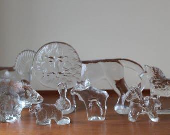 Vintage Kosta Boda Zoo Series, Large Lion by Bertil Vallien Design, Sweden, Scandinavian Glass Animal Figurine