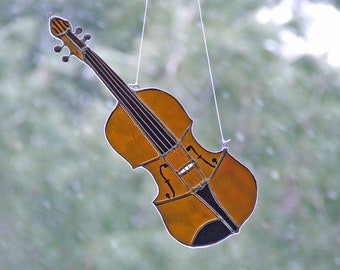 Stained Glass Violin Sun Catcher - Copper Wires and Hand Painted Details