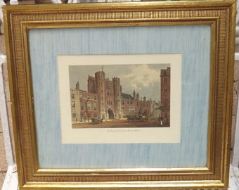 2 Hand Colored English Scenes-Westminster Abbey & St. James Place from Gimbels
