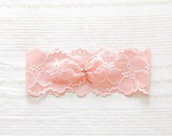 Pink blush garter, peach wedding garter, keepsake garter - style #521