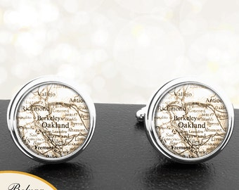 Maps Destination Cufflinks Oakland CA Berkeley CA Fremont CA Vallejo California Groomsmen Wedding Party Fathers Dads Men