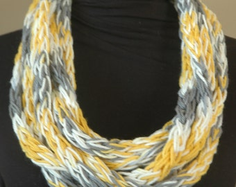 Infinity Scarf in White, Yellow, and Gray