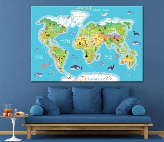 Kids world map canvas world map poster world map print custom description current world map gumiabroncs Image collections