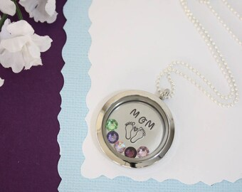 Mom Floating Locket Necklace Personalized, Mother Gift, Birthstone Charm, Heart Charm, Monogram Necklace, baby Feet, GG, Gigi, Grandma, Gma