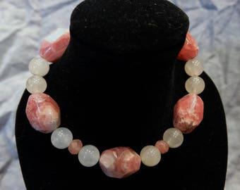 Rhodochrosite and Rose Quartz Bracelet