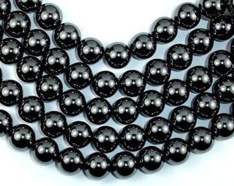 Hematite, 12mm Round Beads, 16 Inch, Full strand, Approx 35 beads, Hole 1 mm (269054005)
