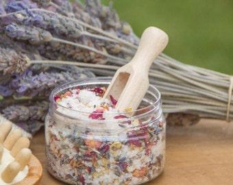 Floral bath salts with Dead Sea salt, Himalayan pink salt and natural essential oisl