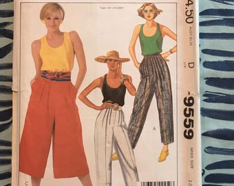 1985  McCalls  Sewing Pattern 9559 Misses High Waisted Wide Leg Culottes or Pants Size 12 Uncut-high waisted pants, culottes pattern, 1980