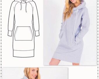 Sweatshirt Dress Sewing Pattern - Knit Dress Pattern - Hoodie Dress Pattern - Sewing Tutorial - Hoodie Sewing Pattern - Fashion Pattern