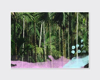 Jungle print, abstract paint, contemporary wall art, palm tree print, art for the home, jungle theme bedroom, tropical art
