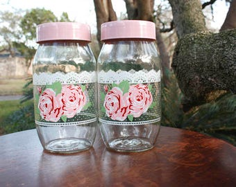 Vintage Carlton Glass Pink Roses and Lace Shabby Chic Country Kitchen Canister Set