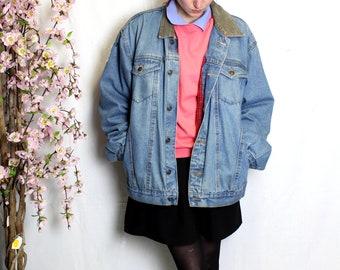 Vintage velvet collar denim jacket padded thick raw color