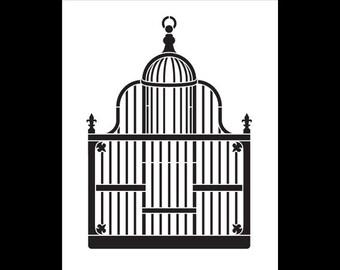 """Art Stencil - Victorian Birdcage - 8"""" x 10"""" - STCL755 by StudioR12"""