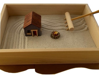 Small Zen Garden and Accessories Desktop Zen Garden Japanese Garden Unique Zen Garden Accessories Simple Zen Garden Box White Sand Garden