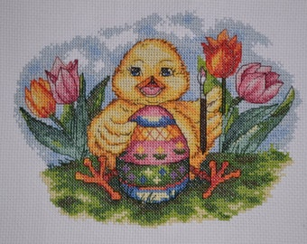 Easter Chick - Finished Counted Cross Stitch