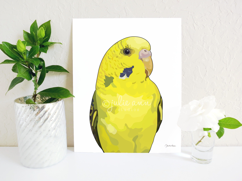Parakeet Art Print Yellow Budgie Print Budgies Decor Parrot