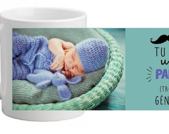 """CERAMIC MUG personalized with photo """"you're an awesome Grandpa"""""""
