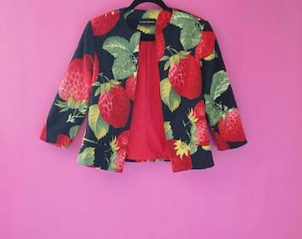 90s/Y2K Unique Strawberries Graphic Print Blazer Jacket