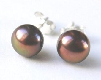 purple brown pearl earrings - 6mm freshwater pearl sterling silver stud earrings