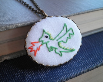 Green Dragon Necklace - Embroidered Dragon Necklace - Baby Dragon Mythical Creature Animal Embroidery Fiber Fantasy Art Textile Jewelry Gift