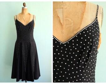 Vintage 1970's Studded Rhinestone Dancing Dress | Size Medium