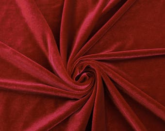 Princess RED Polyester Stretch Velvet Fabric by the Yard, Half Yard, Sample - 10001