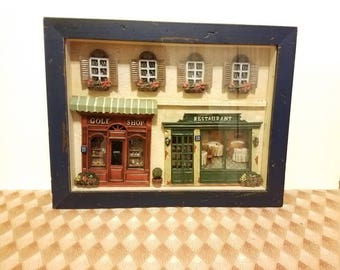 Wood frame 3d main street miniature